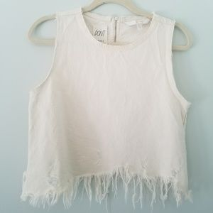 Zara Raw Hem Distressed Fringe Denim Crop Top S